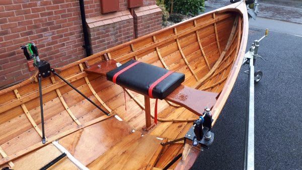 Open water rowing skiff